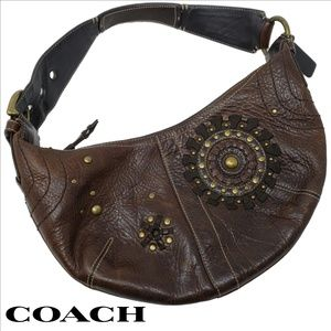 COACH Mia Hobo Brown Leather Brass Studs Handbag